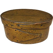 Antique Oval Pantry Box - Mustard