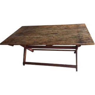 19th Century Saw Buck Table - Scrubbed Pine Top and Red Base   PICK UP ONLY
