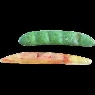 19th Century Stone Fruit/Vegtable   Pea Pod and Yellow Bean
