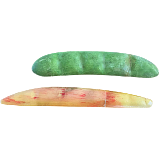 19th Century Stone Fruit/Vegtable   Pea Pod and Yellow Bean