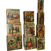19th Century Tall Stack of Early Children Blocks