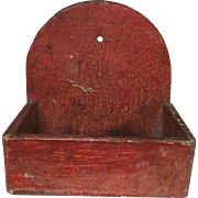 19th Century Miniature (or very small) Wall Box, Original Red Paint