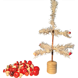 19th Century Small White Feather Tree & Ornaments
