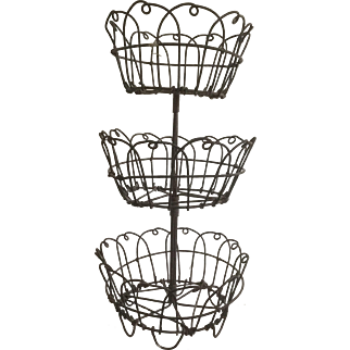 Fabulous 19th Century 3 Tiered Wire Compote -For Miniature Stone Fruit