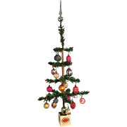 """19th Century 26"""" Feather Tree/Decorated - GREAT"""