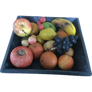 20th Century Blue Apple Tray /Fabulous Stone Fruit Collection