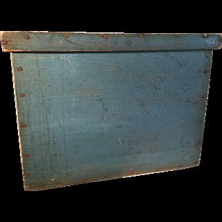 Fabulous 19th Century Blue Box - Original Dry Paint, square nails