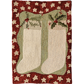 Holiday Stockings Hooked Rug