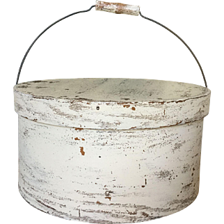 19th Century LARGE Bail Handle Pantry - Oyster White Paint