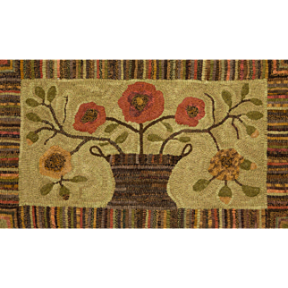 New England Basket of Flowers Hooked Rug