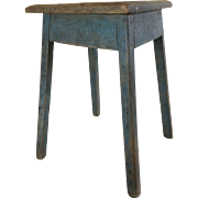 WONDERFUL Small End Table, Scrubbed Top and Original Blue Base