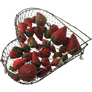 Antique Wire Heart/filled with strawberry emeries