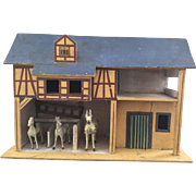 1880 Toy Wooden Barn and Horses - Great Offering