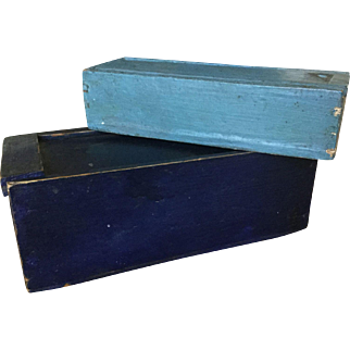 Pair 19th Century Slide Boxes - Original Blue Paint