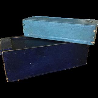 Pair 19th Century Slide Boxes - Original Blue Paint