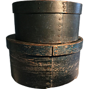 Pr. 19th Century Pantry Boxes - Blue - Top of Stack