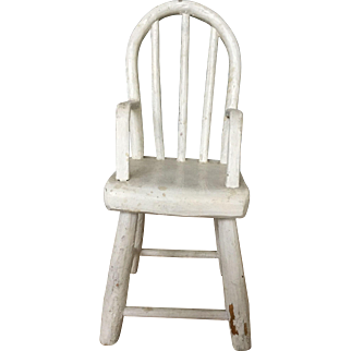Antique Doll Windsor Chair - Oyster White Paint