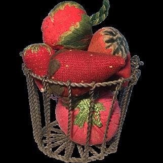 19th Century Wire Basket/Strawberry Emeries