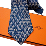 SALE Authentic Pre-owned Hermes Silk Tie 7515 IA Blues