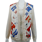 SALE Vintage Hermes Silk Sweater Cardigan Pavois Beige Sz 40