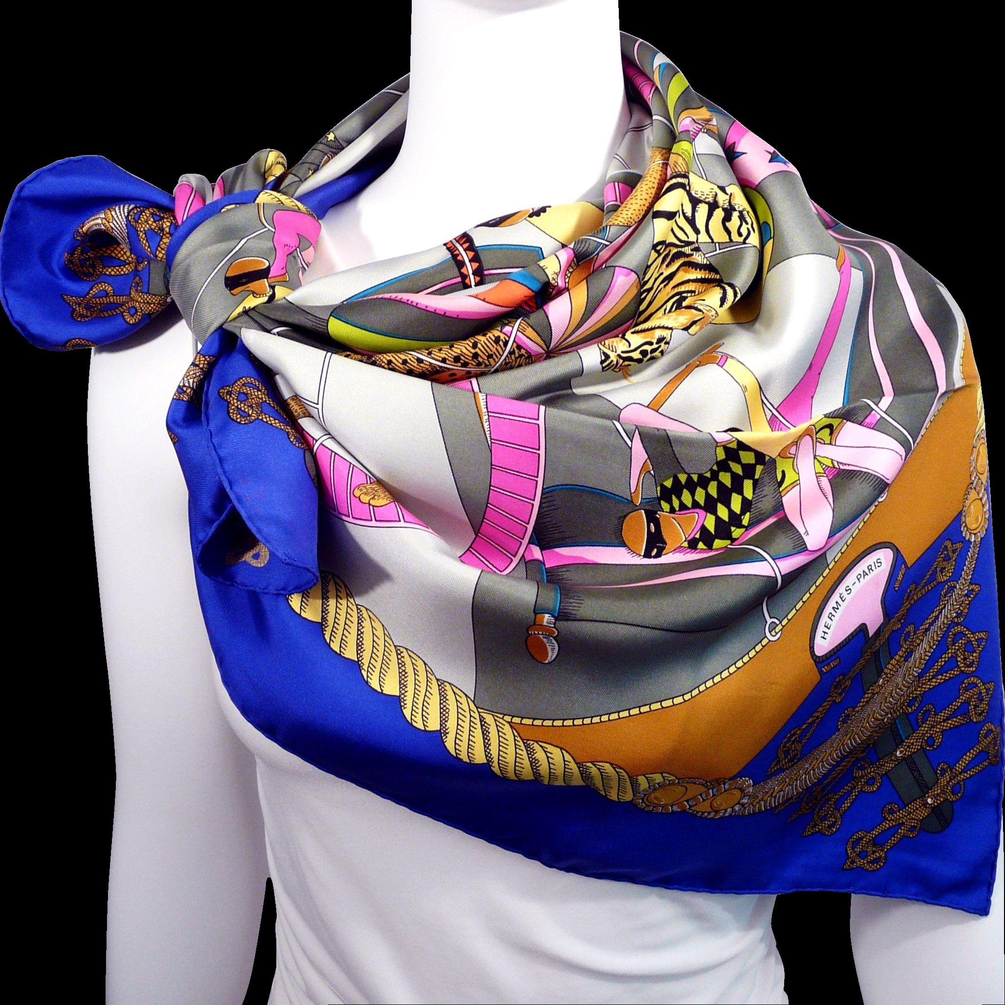 authentic vintage hermes silk scarf circus faivre s