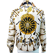 SALE 33% OFF Vintage Hermes Silk Scarf Blouse Les Cles or The Keys Exclusif Label