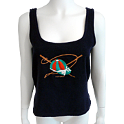 Vintage Hermes Navy Terry Cotton Tank Top Sz M Made In France