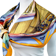 Authentic Vintage Hermes Silk Scarf Rafales - Stunning Sails Yannick Manier