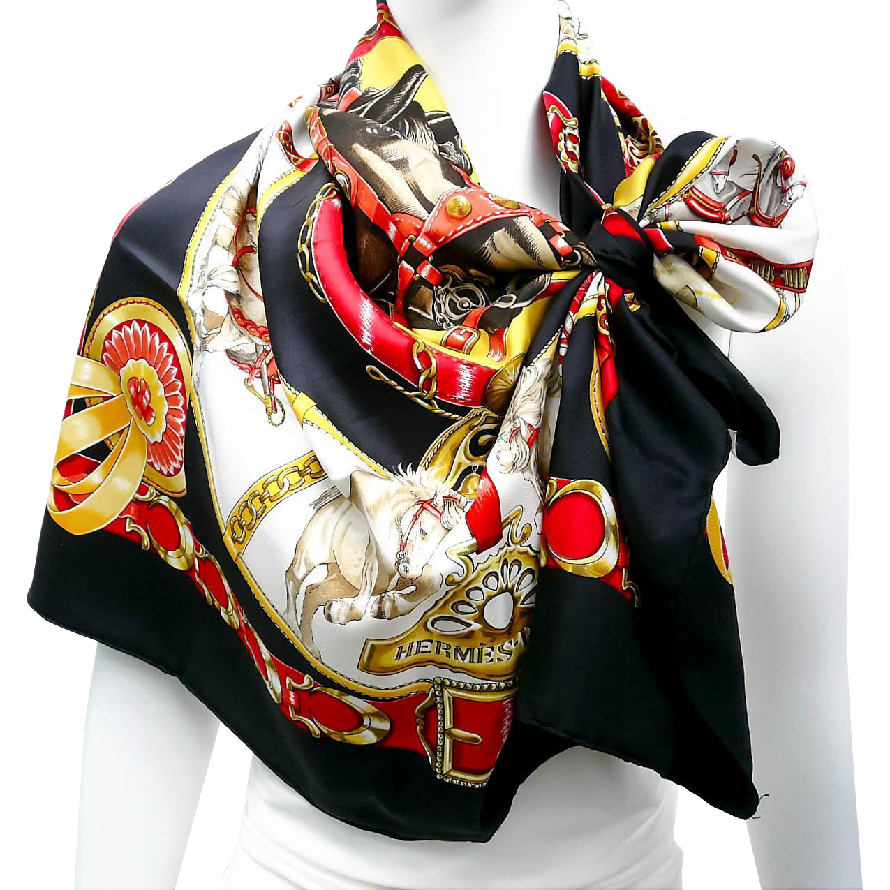 sale authentic vintage hermes silk scarf chevaux de trait