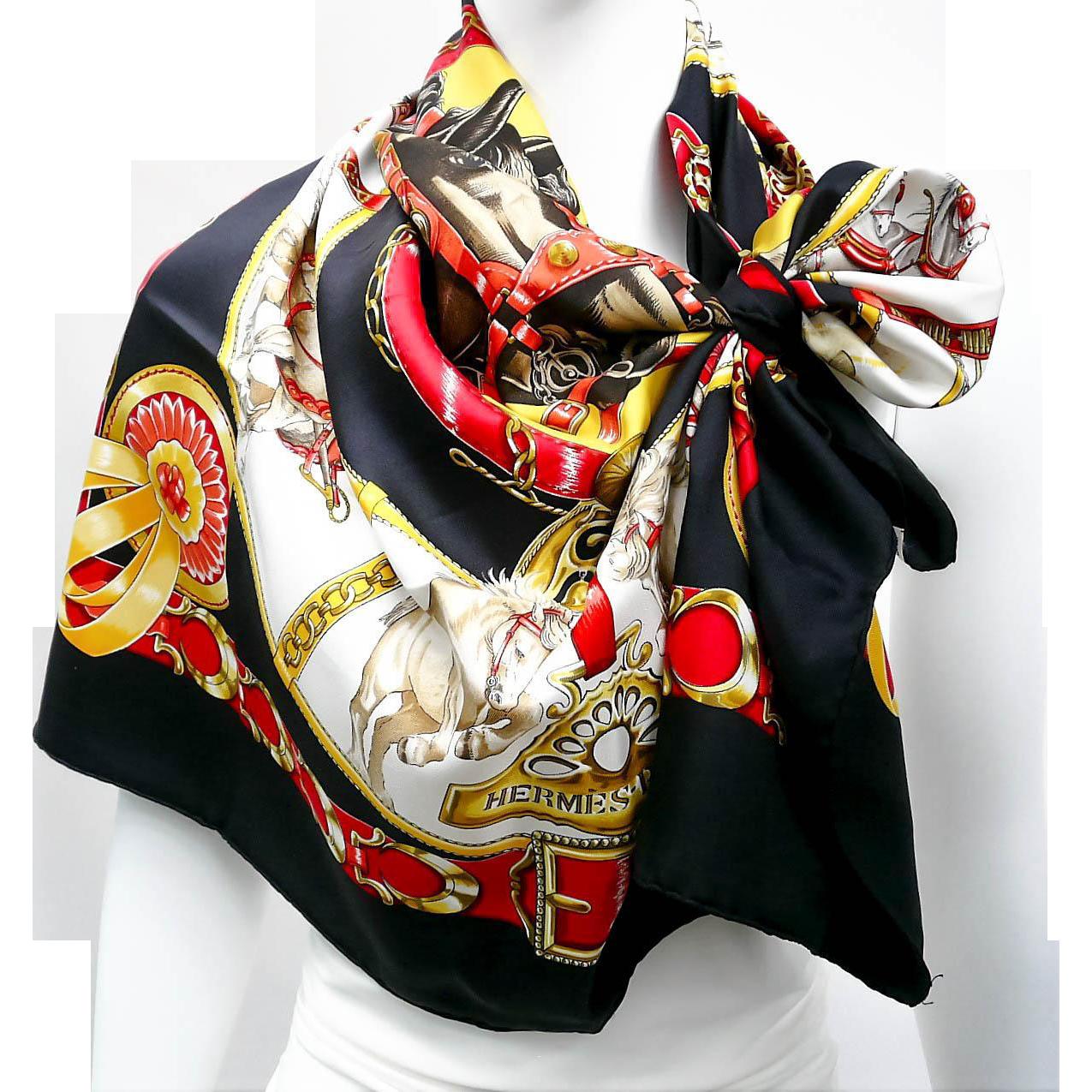 sale authentic vintage hermes silk scarf chevaux de trait