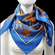 Authentic Vintage Hermes Silk Scarf Caraibes by Christiane Vauzelles w/Box and Bolduc