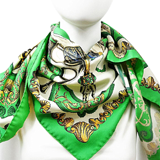 Authentic Vintage Hermes Silk Scarf Ludovicus Magnus Early or Original Issue Green