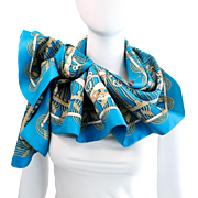 Authentic Reversible Hermes Silk Shawl Opera Scarf Mors et Gourmettes w/Box and Bolduc Ribbon