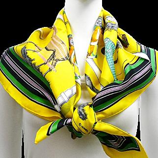 Authentic Vintage Hermes Silk Scarf Couvertures et Tenues du Jour Yellow w/Box