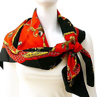 Authentic Hermes Silk Scarf La Cle Des Champs Red and Black Fireworks Jacquard