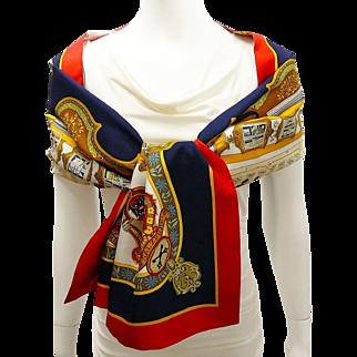 Authentic Reversible Hermes Silk Shawl Opera Scarf Salzburg - Rare