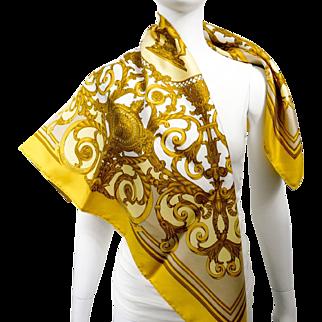 Authentic Vintage Hermes Silk Scarf Les Tuileries Joachim Metz Gold RARE