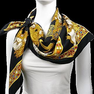 Authentic Vintage Hermes Silk Scarf Le Triomphe du Paladin by Julia Abadie Black