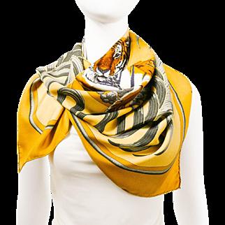 Authentic Vintage Hermes Silk Scarf Le Tigre Royal Beige Colorway