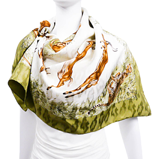 Authentic Hermes Silk Jacquard Scarf Kenya by Robert Dallet Khaki
