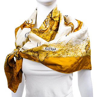 Authentic Hermes Silk Jacquard Scarf Kenya by Robert Dallet Gold