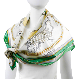 Authentic Vintage Hermes Silk Scarf Grand Apparat Early Issue Rare UNWORN w/Box
