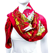 Authentic Hermes Jacquard Silk Scarf La Comédie Italienne Collector's Scarf Raspberry Pink