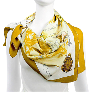 Authentic Hermes Silk Jacquard Scarf Venerie des Princes RARE w/Box