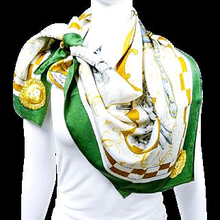 Authentic Hermes Silk Jacquard Scarf Louveterie Royale RARE w/Box