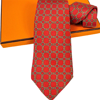 Authentic Vintage Hermes Silk Tie 668 OA Red RARE