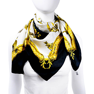 """Authentic Hermes Silk Scarf La Cle Des Champs Gold Black """"H"""" Jacquard Early Issue w/BOX"""