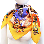 Authentic Hermes Silk Scarf Feria de Sevilla Yellow NIB