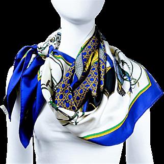 Authentic Vintage Hermes Silk Scarf Les Voitures a Transformation Blue