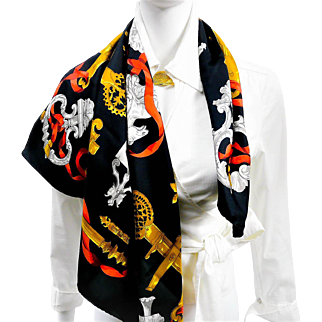 Authentic Vintage Hermes Silk Scarf Ferronnerie Black and Red Colorway